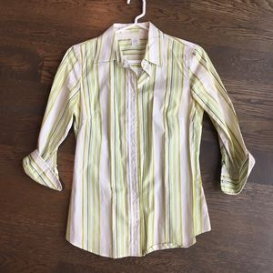 JCrew 3/4 Sleeve Button Up Shirt In Green Stripe